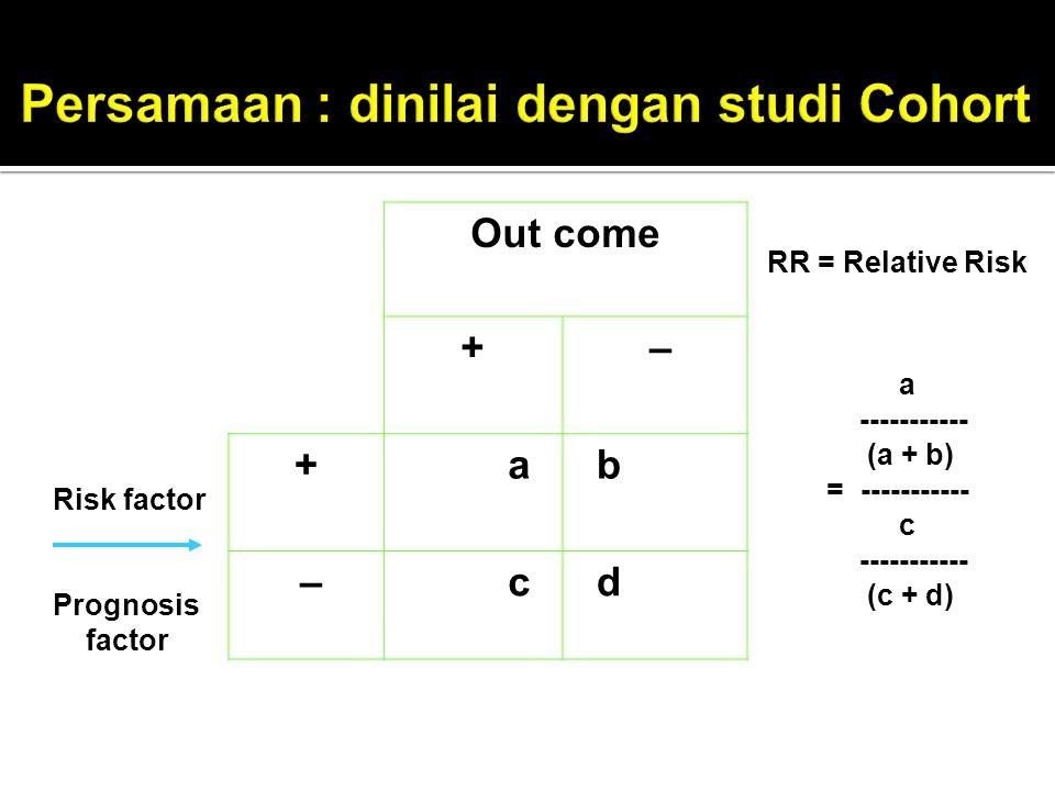 Out come + – + a b – c d RR = Relative Risk a ----------- (a + b) = ----------- c ----------- (c + d) Risk factor Prognosis factor