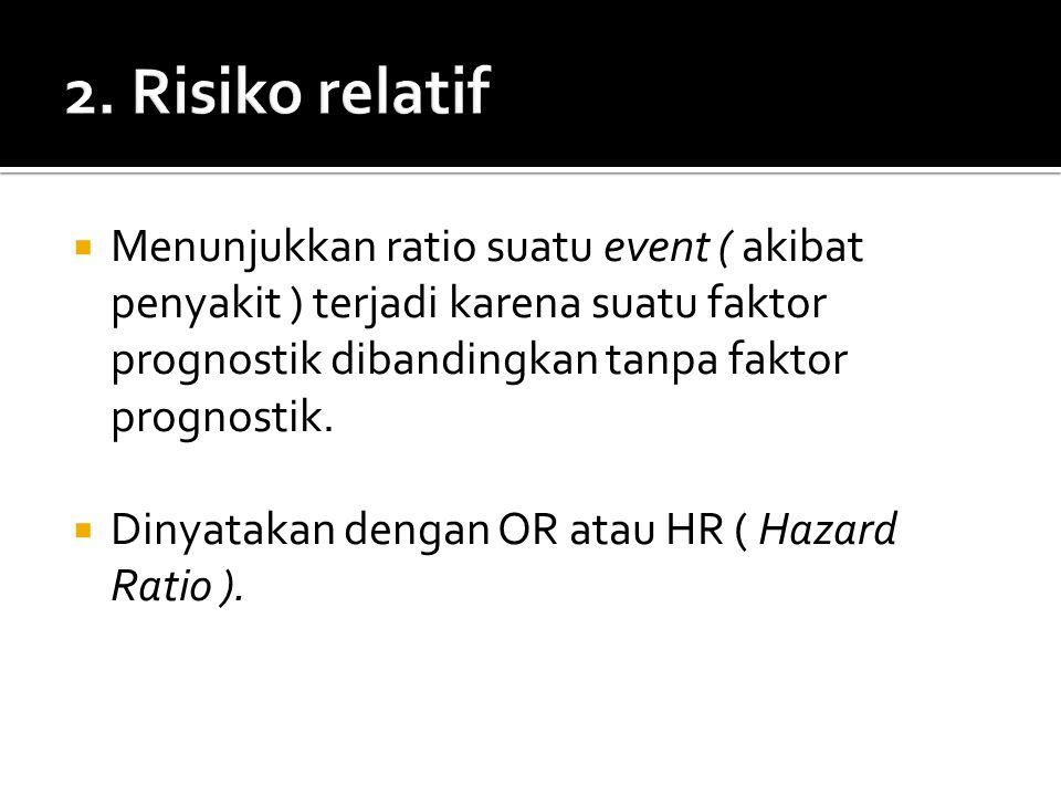  Menunjukkan ratio suatu event ( akibat penyakit ) terjadi karena suatu faktor prognostik dibandingkan tanpa faktor prognostik.  Dinyatakan dengan O