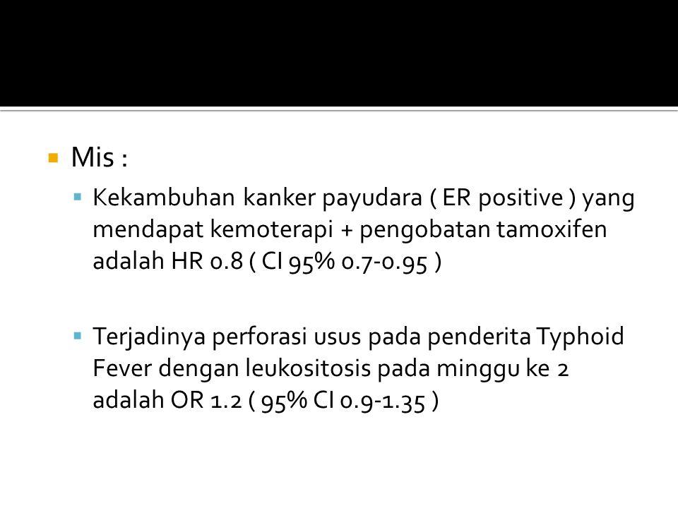  Mis :  Kekambuhan kanker payudara ( ER positive ) yang mendapat kemoterapi + pengobatan tamoxifen adalah HR 0.8 ( CI 95% 0.7-0.95 )  Terjadinya pe