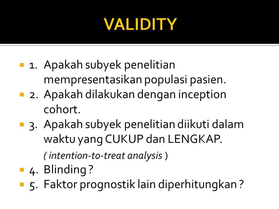  1.Apakah subyek penelitian mempresentasikan populasi pasien.  2.Apakah dilakukan dengan inception cohort.  3.Apakah subyek penelitian diikuti dala