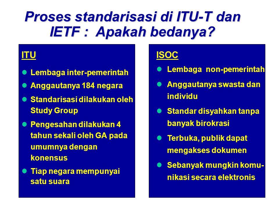 Proses standarisasi di ITU-T dan IETF : Apakah bedanya.