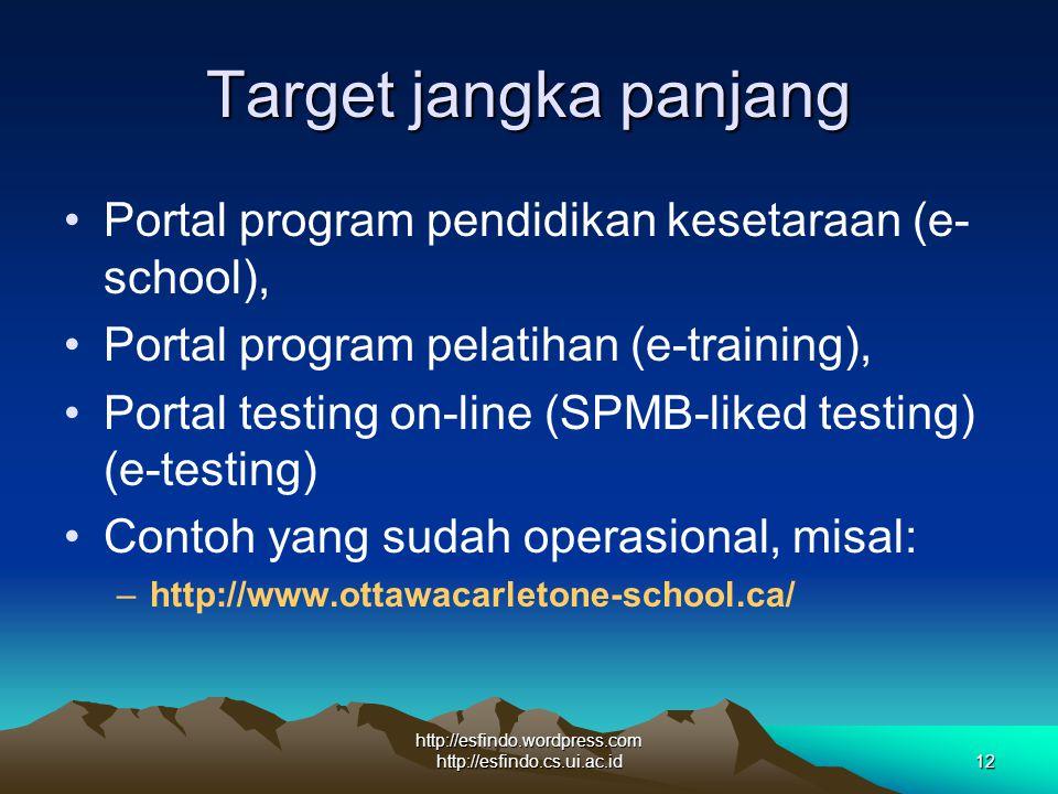 http://esfindo.wordpress.com http://esfindo.cs.ui.ac.id12 Target jangka panjang Portal program pendidikan kesetaraan (e- school), Portal program pelatihan (e-training), Portal testing on-line (SPMB-liked testing) (e-testing) Contoh yang sudah operasional, misal: –http://www.ottawacarletone-school.ca/