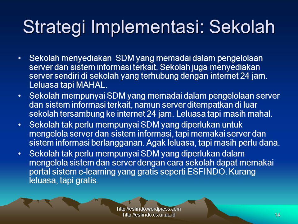http://esfindo.wordpress.com http://esfindo.cs.ui.ac.id14 Strategi Implementasi: Sekolah Sekolah menyediakan SDM yang memadai dalam pengelolaan server dan sistem informasi terkait.