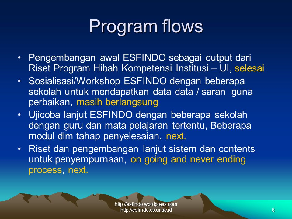 http://esfindo.wordpress.com http://esfindo.cs.ui.ac.id8 Program flows Pengembangan awal ESFINDO sebagai output dari Riset Program Hibah Kompetensi In