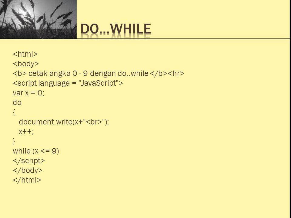 Ini Judul 1 Ini Judul 2 Ini Judul 3 cetak angka 0 - 9 dengan do..while var x = 0; do { document.write(x+ ); x++; } while (x <= 9)