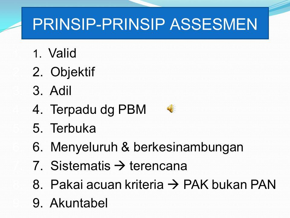 PRINSIP-PRINSIP ASSESMEN 1. 1. Valid 2. 2. Objektif 3. 3. Adil 4. 4. Terpadu dg PBM 5. 5. Terbuka 6. 6. Menyeluruh & berkesinambungan 7. 7. Sistematis