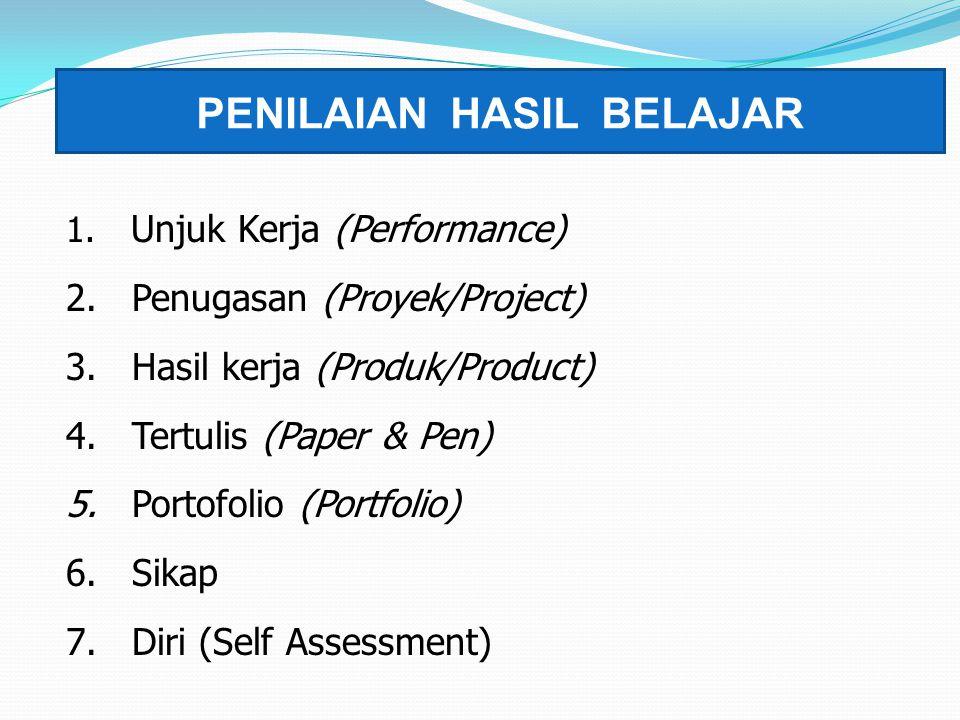 PENILAIAN HASIL BELAJAR 1. Unjuk Kerja (Performance) 2. Penugasan (Proyek/Project) 3. Hasil kerja (Produk/Product) 4. Tertulis (Paper & Pen) 5. Portof