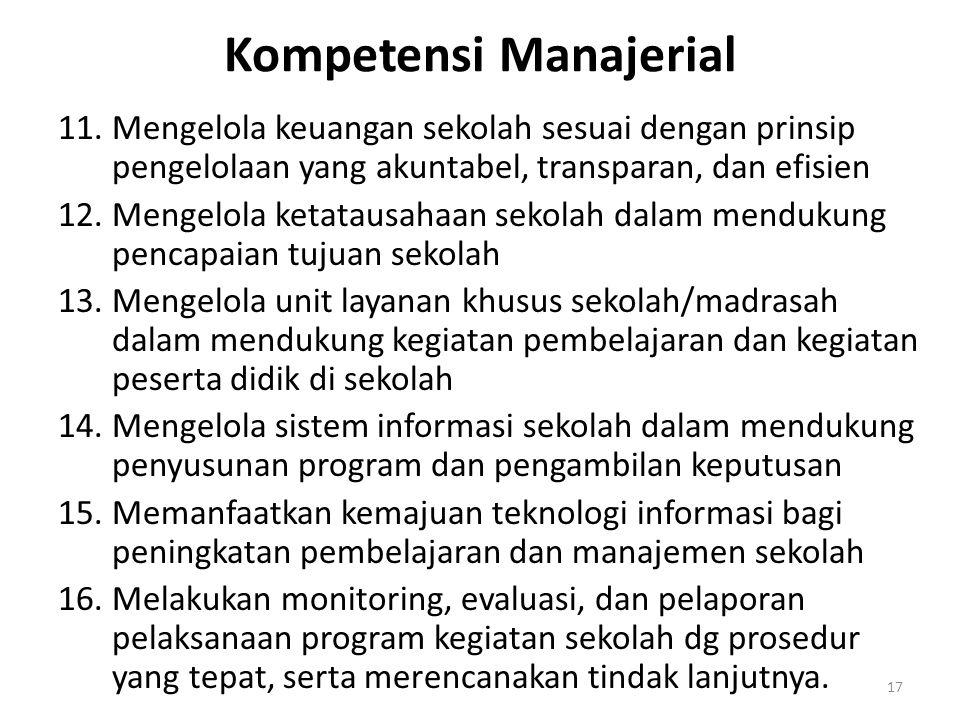 Kompetensi Manajerial 11.Mengelola keuangan sekolah sesuai dengan prinsip pengelolaan yang akuntabel, transparan, dan efisien 12.Mengelola ketatausaha