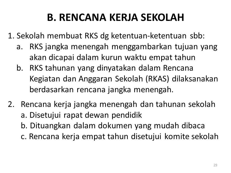 B. RENCANA KERJA SEKOLAH 1. Sekolah membuat RKS dg ketentuan-ketentuan sbb: a.RKS jangka menengah menggambarkan tujuan yang akan dicapai dalam kurun w