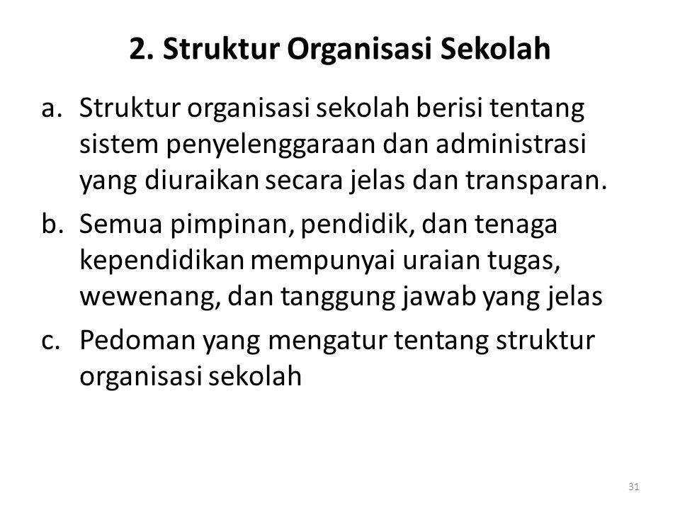 2. Struktur Organisasi Sekolah a.Struktur organisasi sekolah berisi tentang sistem penyelenggaraan dan administrasi yang diuraikan secara jelas dan tr