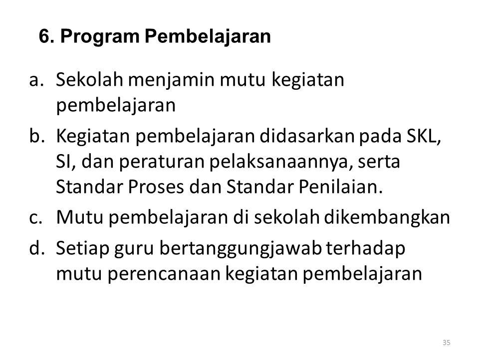 6. Program Pembelajaran a.Sekolah menjamin mutu kegiatan pembelajaran b.Kegiatan pembelajaran didasarkan pada SKL, SI, dan peraturan pelaksanaannya, s