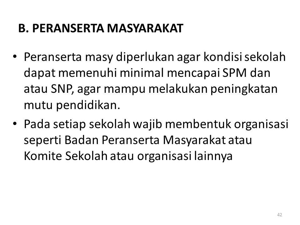 B. PERANSERTA MASYARAKAT Peranserta masy diperlukan agar kondisi sekolah dapat memenuhi minimal mencapai SPM dan atau SNP, agar mampu melakukan pening