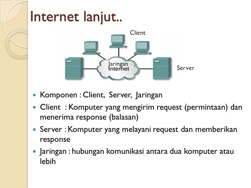 Internet lanjut.. Komponen : Client, Server, Jaringan Client : Komputer yang mengirim request (permintaan) dan menerima response (balasan) Server : Ko