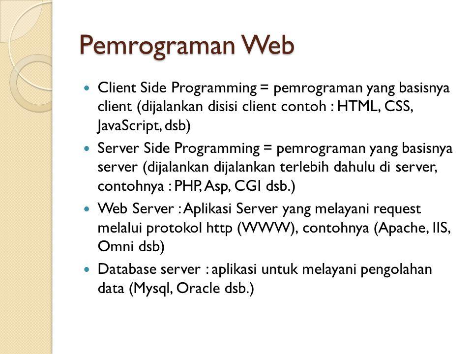 Pemrograman Web Client Side Programming = pemrograman yang basisnya client (dijalankan disisi client contoh : HTML, CSS, JavaScript, dsb) Server Side Programming = pemrograman yang basisnya server (dijalankan dijalankan terlebih dahulu di server, contohnya : PHP, Asp, CGI dsb.) Web Server : Aplikasi Server yang melayani request melalui protokol http (WWW), contohnya (Apache, IIS, Omni dsb) Database server : aplikasi untuk melayani pengolahan data (Mysql, Oracle dsb.)