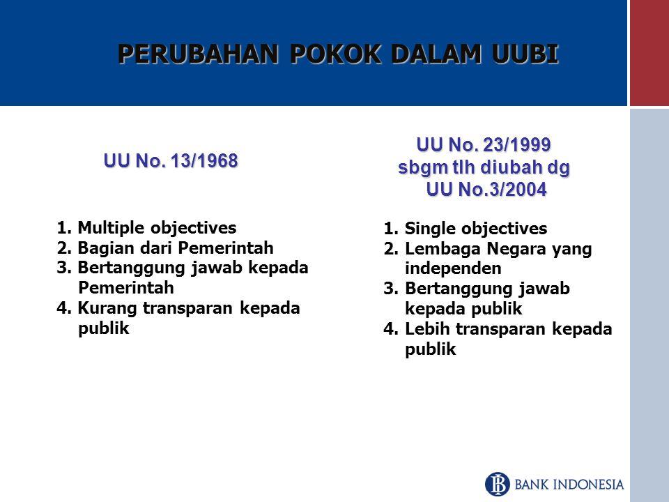 PERUBAHAN POKOK DALAM UUBI UU No.13/1968 UU No. 23/1999 sbgm tlh diubah dg UU No.3/2004 1.