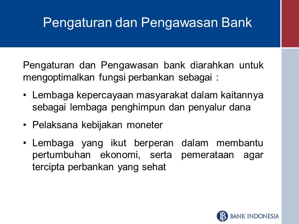 Pengaturan dan Pengawasan Bank Pengaturan dan Pengawasan bank diarahkan untuk mengoptimalkan fungsi perbankan sebagai : Lembaga kepercayaan masyarakat dalam kaitannya sebagai lembaga penghimpun dan penyalur dana Pelaksana kebijakan moneter Lembaga yang ikut berperan dalam membantu pertumbuhan ekonomi, serta pemerataan agar tercipta perbankan yang sehat