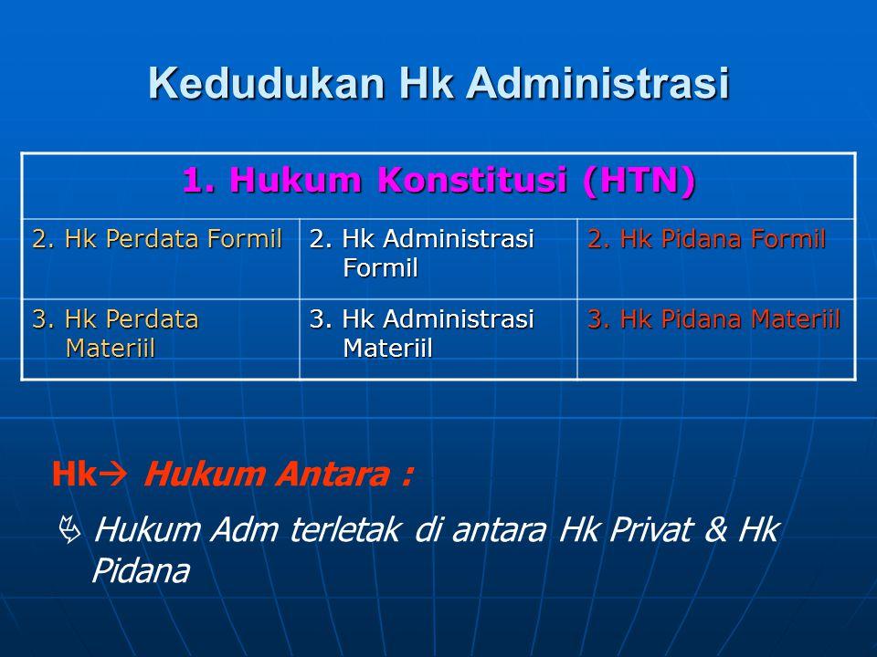Kedudukan Hk Administrasi 1. Hukum Konstitusi (HTN) 2. Hk Perdata Formil 2. Hk Administrasi Formil 2. Hk Pidana Formil 3. Hk Perdata Materiil 3. Hk Ad