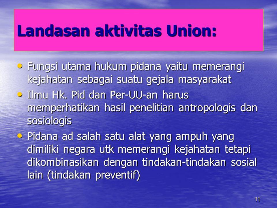 11 Landasan aktivitas Union: Fungsi utama hukum pidana yaitu memerangi kejahatan sebagai suatu gejala masyarakat Fungsi utama hukum pidana yaitu memer