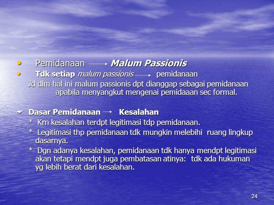 24 Pemidanaan Malum Passionis Pemidanaan Malum Passionis Tdk setiap malum passionis pemidanaan Tdk setiap malum passionis pemidanaan Jd dlm hal ini ma