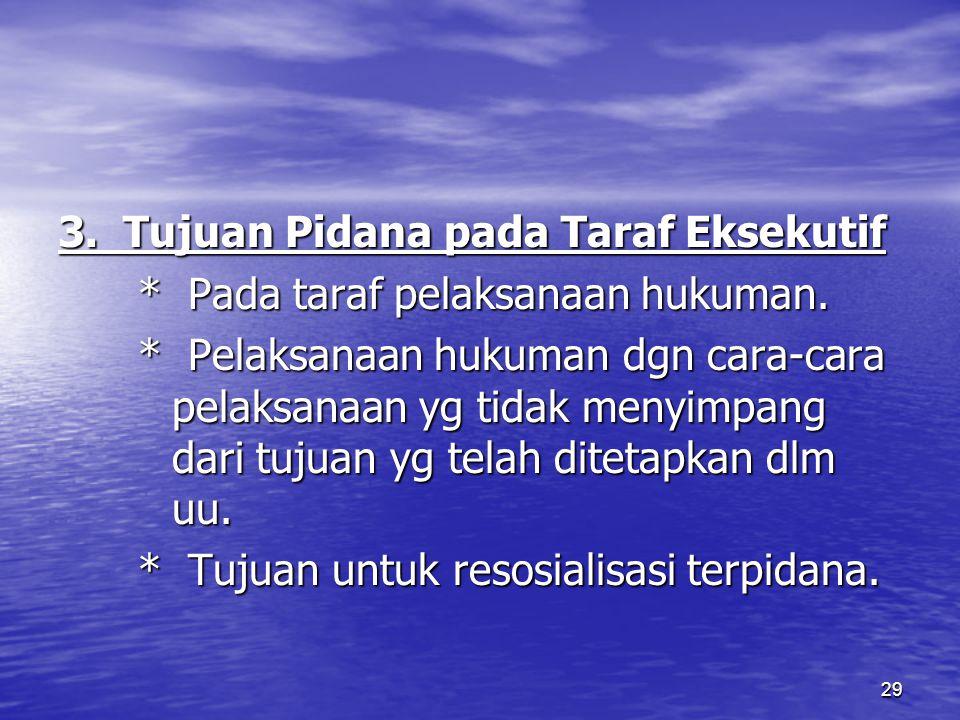 29 3. Tujuan Pidana pada Taraf Eksekutif * Pada taraf pelaksanaan hukuman. * Pada taraf pelaksanaan hukuman. * Pelaksanaan hukuman dgn cara-cara pelak