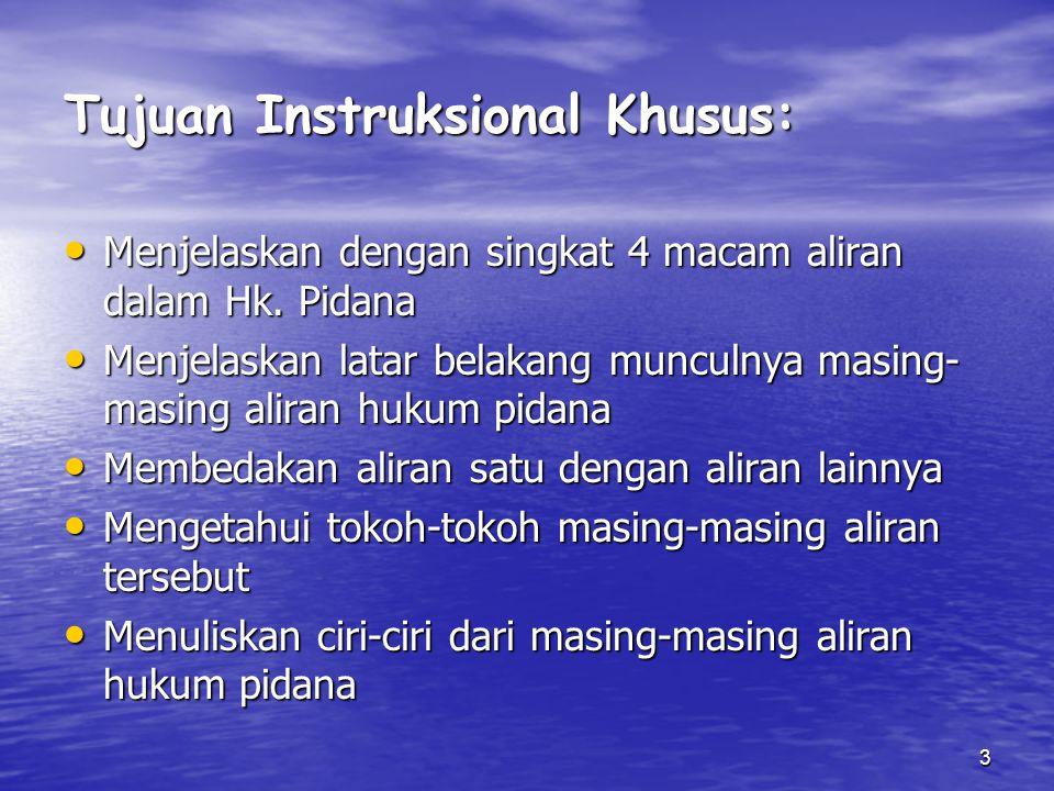3 Tujuan Instruksional Khusus: Menjelaskan dengan singkat 4 macam aliran dalam Hk. Pidana Menjelaskan dengan singkat 4 macam aliran dalam Hk. Pidana M