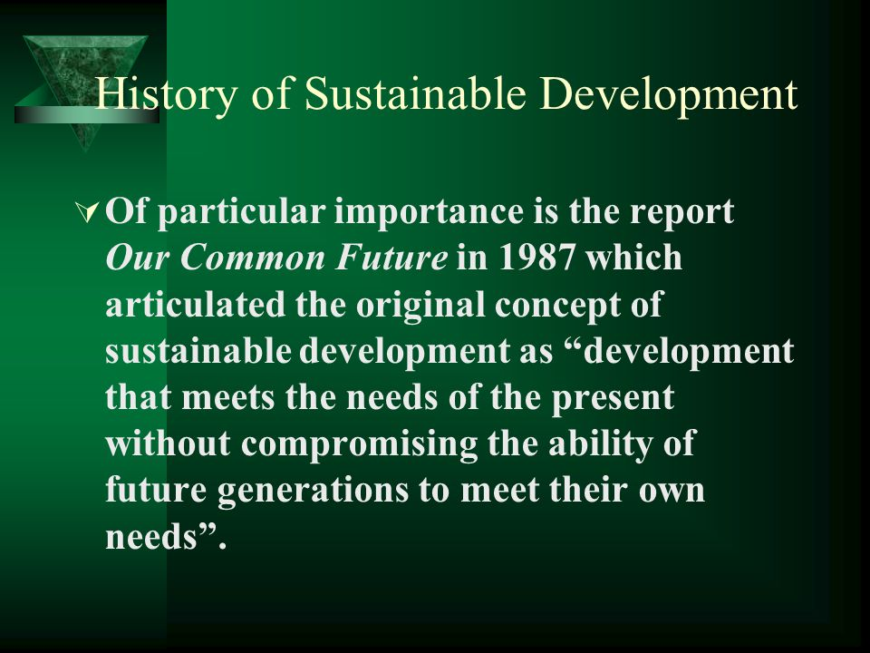 History of Sustainable Development FFollowing the Stockholm Conference, international governmental and non- governmental organisations formulated programmes to implement the policies and principles.