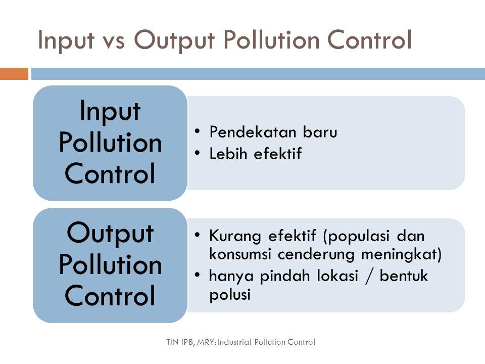 Input vs Output Pollution Control Pendekatan baru Lebih efektif Input Pollution Control Kurang efektif (populasi dan konsumsi cenderung meningkat) han