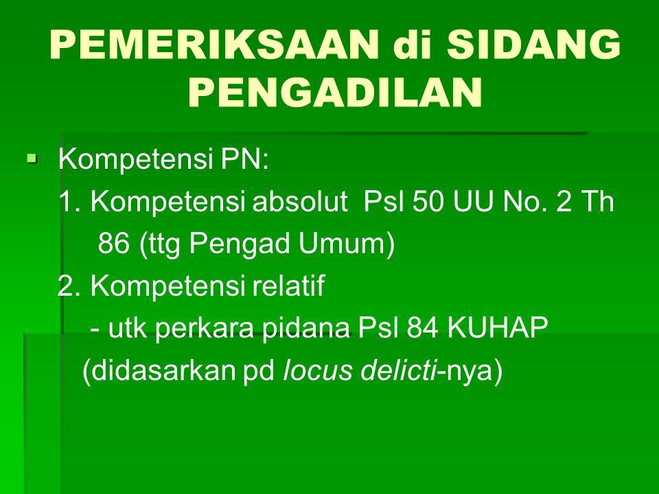 PEMERIKSAAN di SIDANG PENGADILAN   Kompetensi PN: 1. Kompetensi absolut Psl 50 UU No. 2 Th 86 (ttg Pengad Umum) 2. Kompetensi relatif - utk perkara