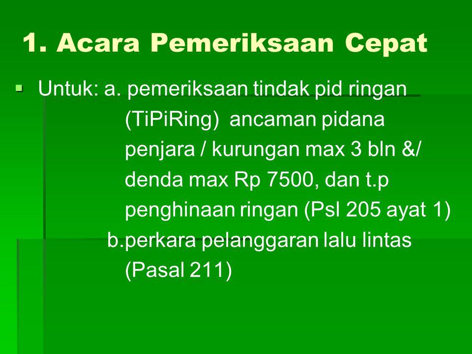 1. Acara Pemeriksaan Cepat   Untuk: a. pemeriksaan tindak pid ringan (TiPiRing) ancaman pidana penjara / kurungan max 3 bln &/ denda max Rp 7500, da