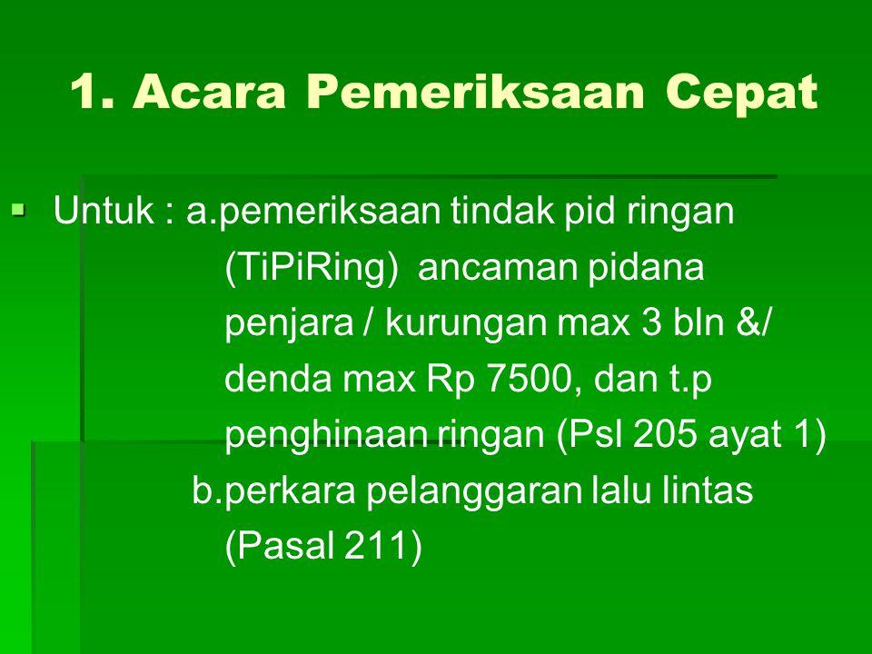 1. Acara Pemeriksaan Cepat   Untuk : a.pemeriksaan tindak pid ringan (TiPiRing) ancaman pidana penjara / kurungan max 3 bln &/ denda max Rp 7500, da