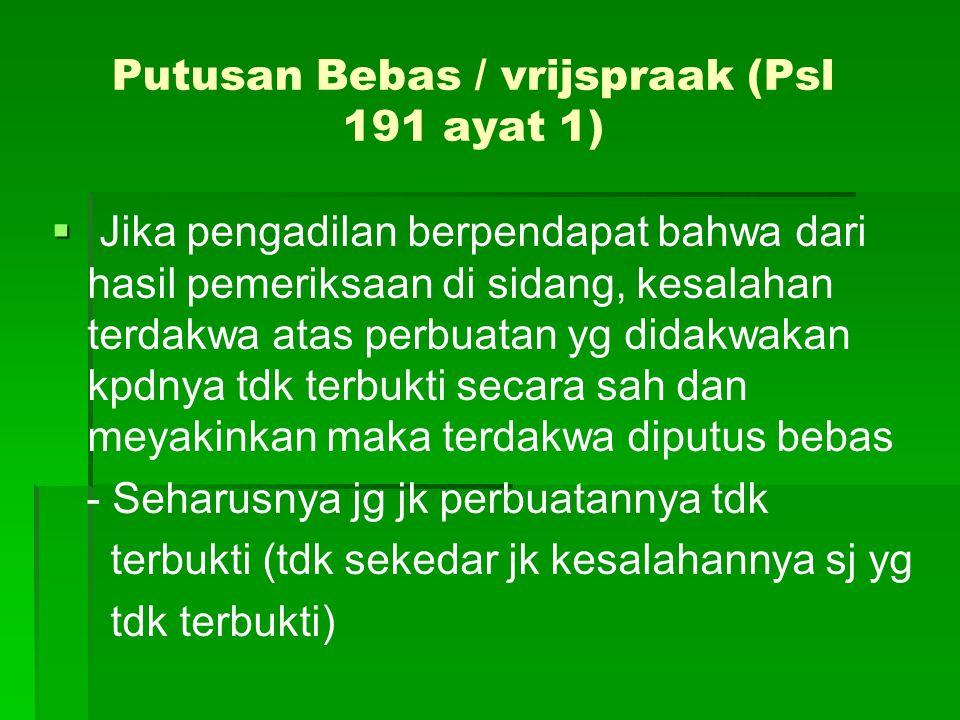 Putusan Bebas / vrijspraak (Psl 191 ayat 1)   Jika pengadilan berpendapat bahwa dari hasil pemeriksaan di sidang, kesalahan terdakwa atas perbuatan
