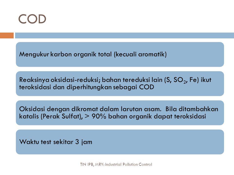 COD Mengukur karbon organik total (kecuali aromatik) Reaksinya oksidasi-reduksi; bahan tereduksi lain (S, SO2, Fe) ikut teroksidasi dan diperhitungkan sebagai COD Oksidasi dengan dikromat dalam larutan asam.