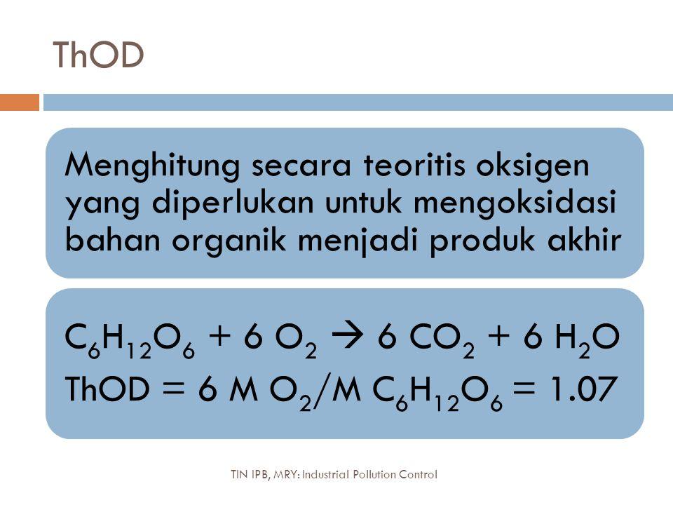 Debit, Konsentrasi, dan Beban TIN IPB, MRY: Industrial Pollution Control Pendekatan modern vs tradisional untuk kualitas air: Beban Aktual vs Konsentrasi Maksimum Beban (mg COD/hari) = konsentrasi COD (mg/L) x debit (L/hari) Minimisasi beban aktual limbah: menurunkan volume dan atau konsentrasinya Benchmarking efisiensi kinerja industri kg BOD/ton Produkkg COD/ton Bahanm 3 air/ton Produk