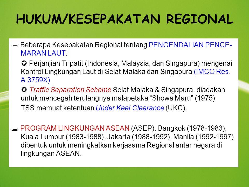 HUKUM/KESEPAKATAN REGIONAL  Beberapa Kesepakatan Regional tentang PENGENDALIAN PENCE- MARAN LAUT:  Perjanjian Tripatit (Indonesia, Malaysia, dan Sin