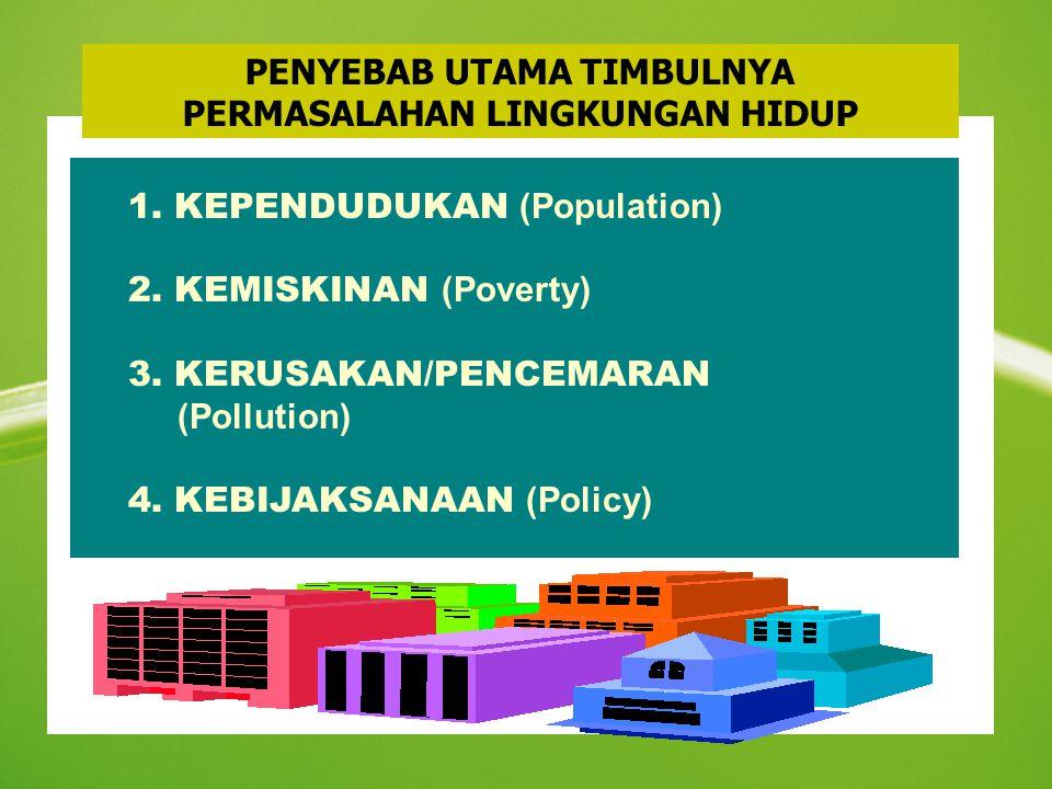 PENYEBAB UTAMA TIMBULNYA PERMASALAHAN LINGKUNGAN HIDUP 1. KEPENDUDUKAN (Population) 2. KEMISKINAN (Poverty) 3. KERUSAKAN/PENCEMARAN (Pollution) 4. KEB
