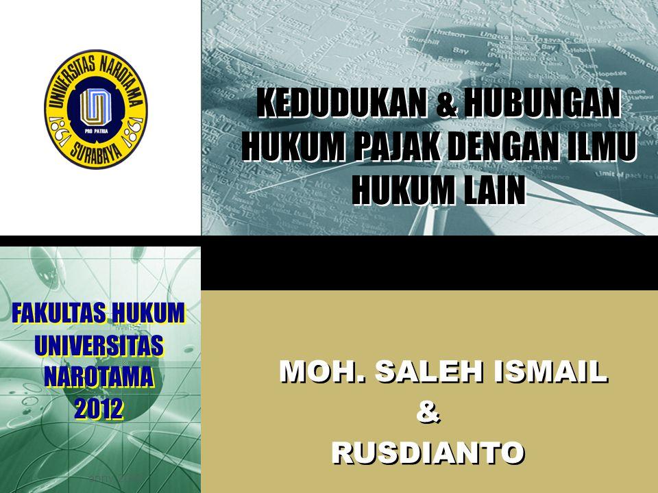 LOGO enny, 2008 KEDUDUKAN & HUBUNGAN HUKUM PAJAK DENGAN ILMU HUKUM LAIN MOH. SALEH ISMAIL & RUSDIANTO MOH. SALEH ISMAIL & RUSDIANTO FAKULTAS HUKUM UNI