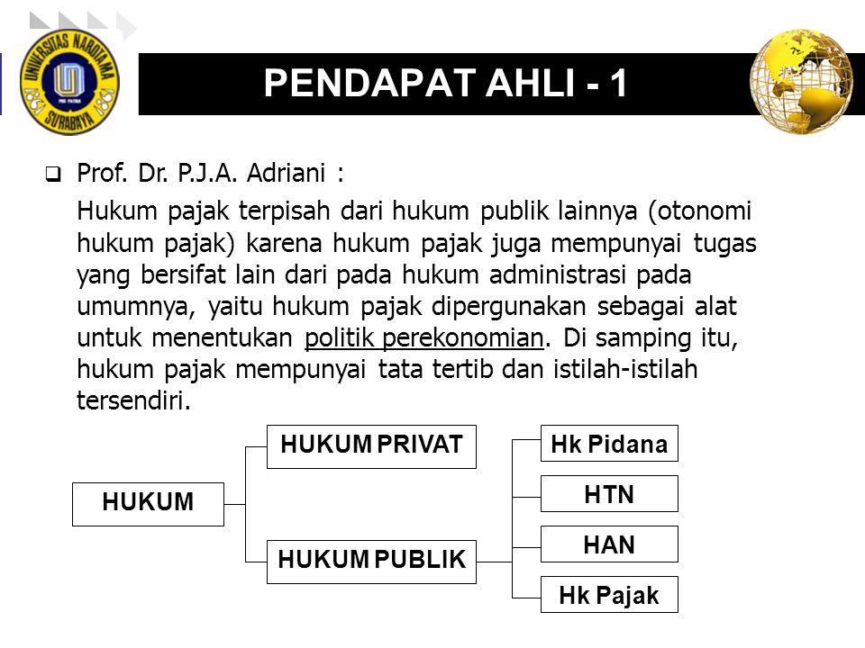 LOGO enny, 2008 PENDAPAT AHLI - 1  Prof. Dr. P.J.A. Adriani : Hukum pajak terpisah dari hukum publik lainnya (otonomi hukum pajak) karena hukum pajak