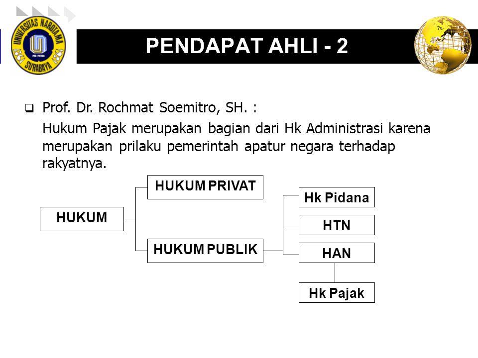 LOGO enny, 2008 PENDAPAT AHLI - 2  Prof. Dr. Rochmat Soemitro, SH. : Hukum Pajak merupakan bagian dari Hk Administrasi karena merupakan prilaku pemer