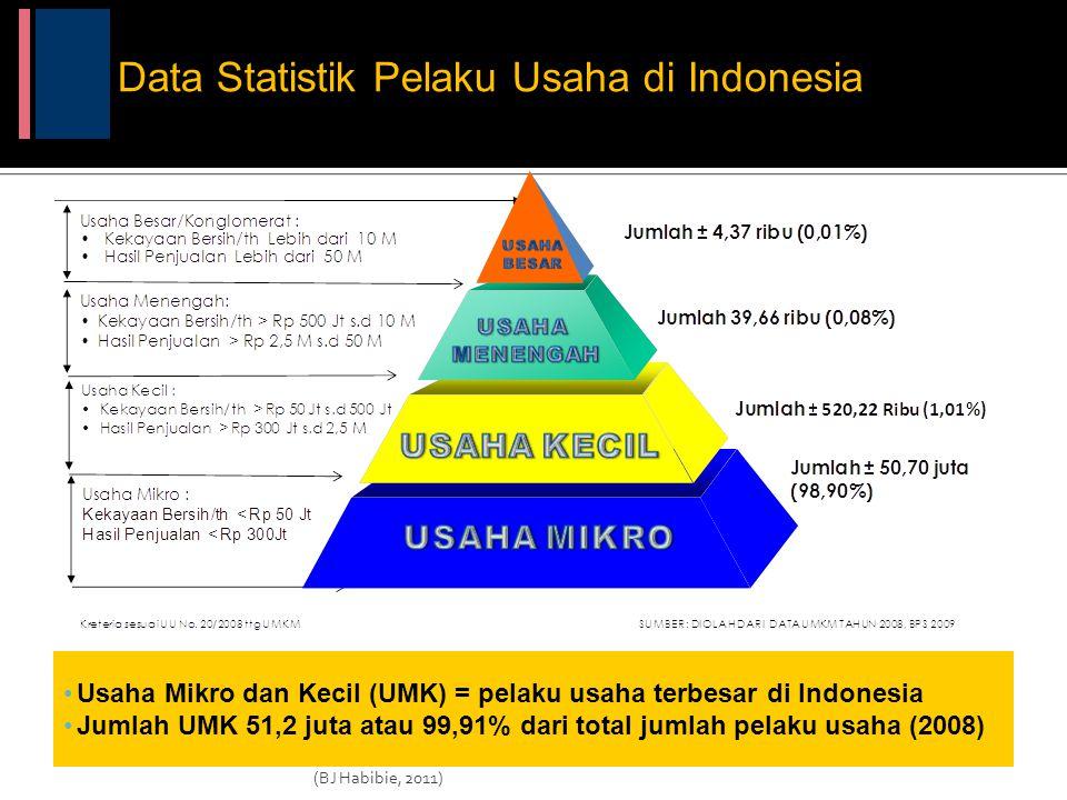 Usaha Mikro dan Kecil (UMK) = pelaku usaha terbesar di Indonesia Jumlah UMK 51,2 juta atau 99,91% dari total jumlah pelaku usaha (2008) Data Statistik Pelaku Usaha di Indonesia (BJ Habibie, 2011)