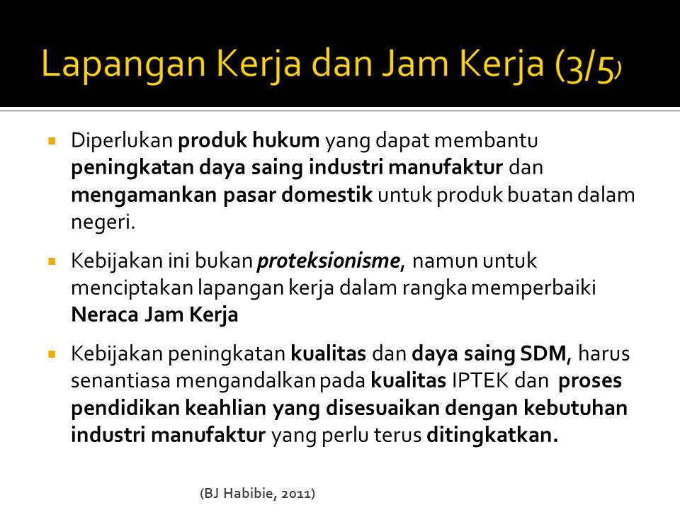  Diperlukan produk hukum yang dapat membantu peningkatan daya saing industri manufaktur dan mengamankan pasar domestik untuk produk buatan dalam negeri.