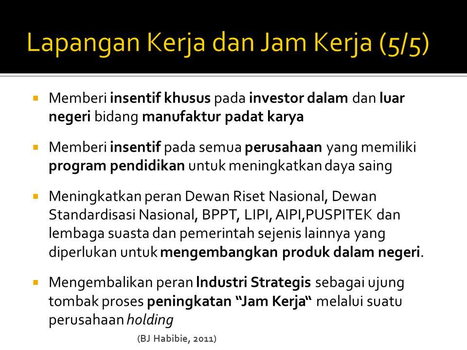  Memberi insentif khusus pada investor dalam dan luar negeri bidang manufaktur padat karya  Memberi insentif pada semua perusahaan yang memiliki pro