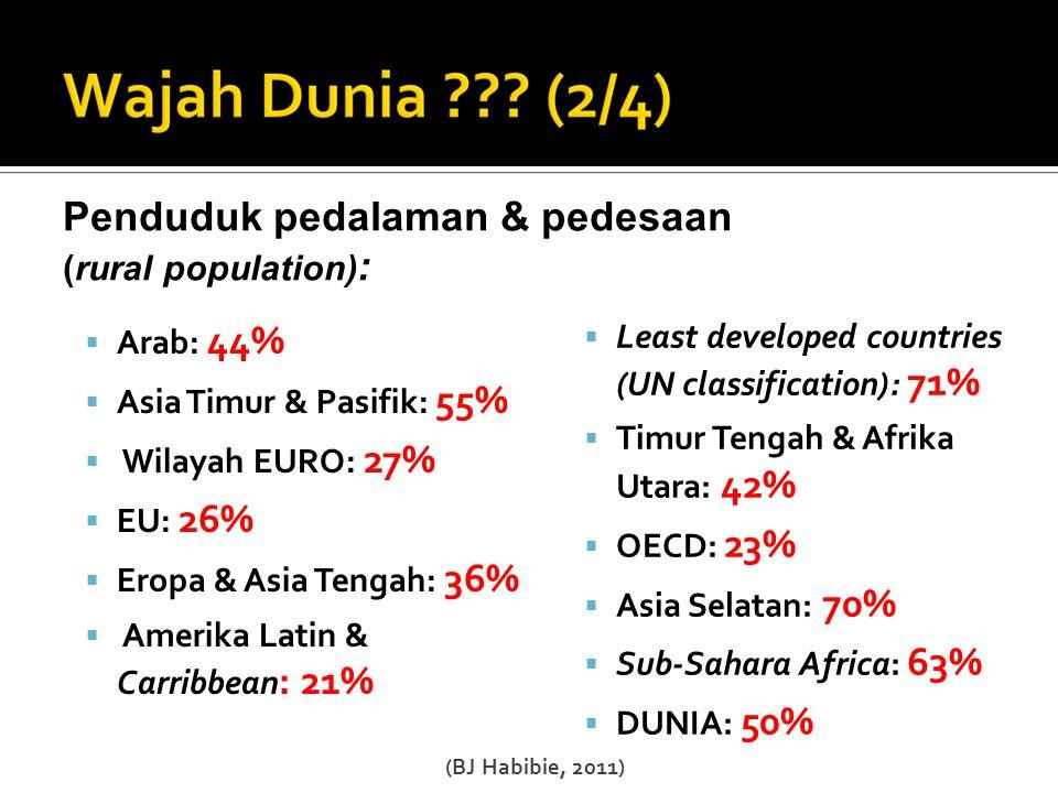  Arab: 16,2 %  Asia Timur & Pacific: 19,4 %  Wilayah EURO: 62,6 %  EU: 61,8%  Eropa & Asia Tengah: 26,4 %  Amerika Latin & Carribbean: 29% Angka Pemanfaat Internet / 100 orang  Least develloped countries (UN classification): 2,2%  Timur Tengah & Afrika Utara: 18,9 %  OECD: 63,2 %  Asia Selatan: 4,7 %  Sub-Sahara Africa : 6,5 %  DUNIA: 23,9 % (BJ Habibie, 2011)