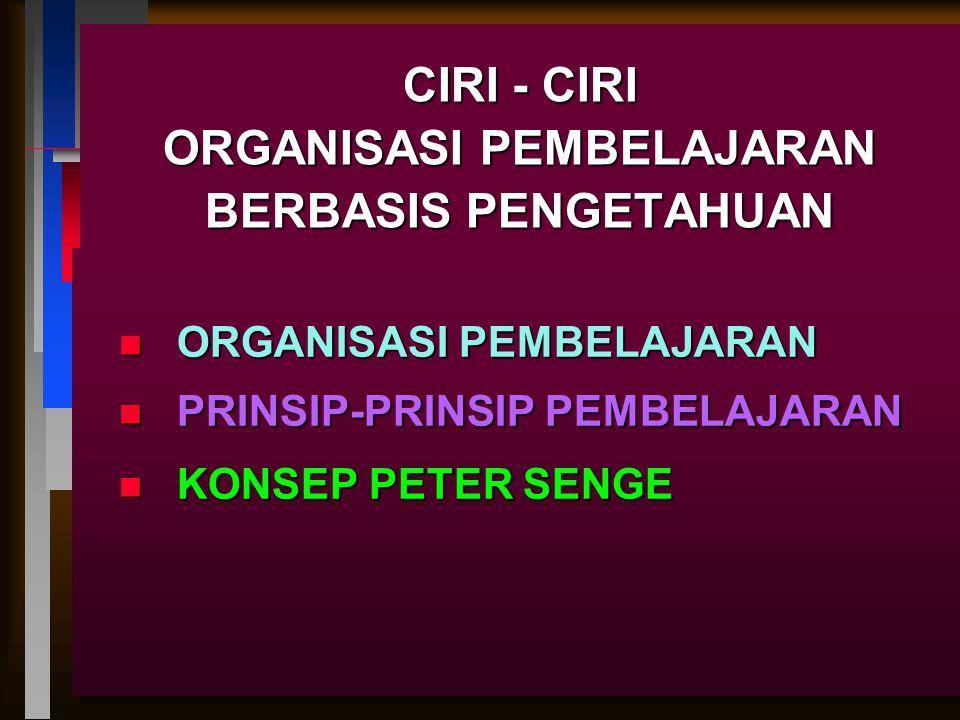 ORGANISASI PEMBELAJARAN ORGANISASI BELAJAR ADALAH BENTUK SUATU ORGANISASI YANG MENGANDUNG SISTEM, MEKANISME, DAN PROSES YANG DIGUNAKAN SECARA BERSINAMBUNG UNTUK MEMPERKUAT KAPABILITAS ORGANISASI DAN MEREKA YANG BEKERJA DENGAN DAN UNTUK ORGANISASI DALAM MENCAPAI TUJUAN YANG BERSINAM- BUNG UNTUK ORGANISASI DAN MASYARAKAT DI MANA MEREKA BEKERJA (Mangkuprawira dan Hubeis, 2007:198)