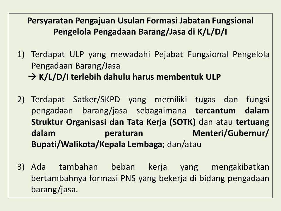 Persyaratan Pengajuan Usulan Formasi Jabatan Fungsional Pengelola Pengadaan Barang/Jasa di K/L/D/I 1)Terdapat ULP yang mewadahi Pejabat Fungsional Pen