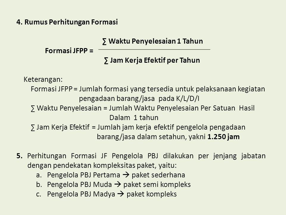 4. Rumus Perhitungan Formasi ∑ Waktu Penyelesaian 1 Tahun Formasi JFPP = ∑ Jam Kerja Efektif per Tahun Keterangan: Formasi JFPP= Jumlah formasi yang t