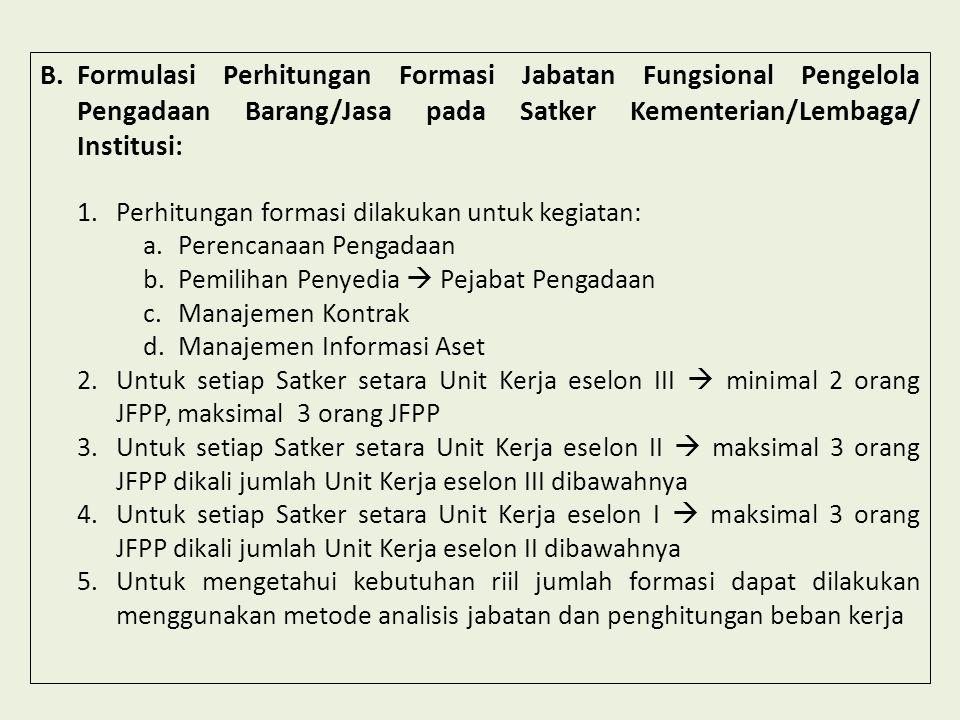 B.Formulasi Perhitungan Formasi Jabatan Fungsional Pengelola Pengadaan Barang/Jasa pada Satker Kementerian/Lembaga/ Institusi: 1.Perhitungan formasi d