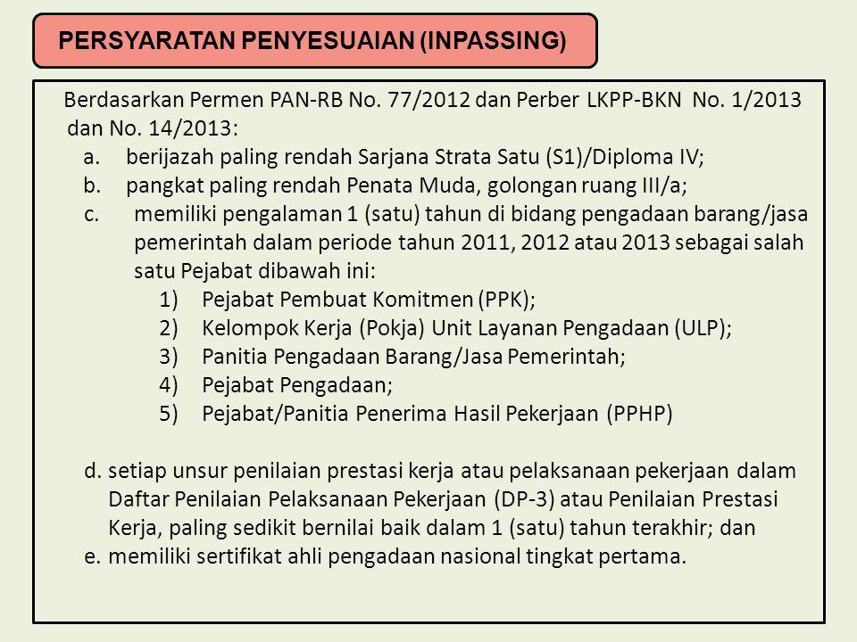 Berdasarkan Permen PAN-RB No. 77/2012 dan Perber LKPP-BKN No. 1/2013 dan No. 14/2013: a.berijazah paling rendah Sarjana Strata Satu (S1)/Diploma IV; b