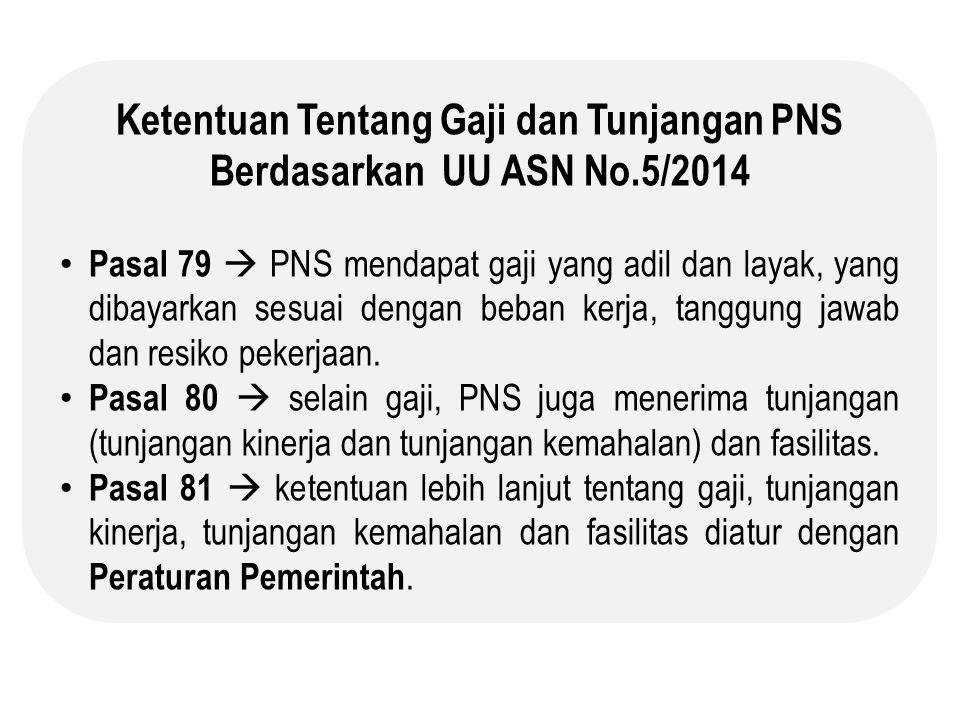 Ketentuan Tentang Gaji dan Tunjangan PNS Berdasarkan UU ASN No.5/2014 Pasal 79  PNS mendapat gaji yang adil dan layak, yang dibayarkan sesuai dengan