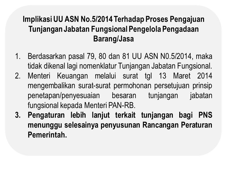 Implikasi UU ASN No.5/2014 Terhadap Proses Pengajuan Tunjangan Jabatan Fungsional Pengelola Pengadaan Barang/Jasa 1.Berdasarkan pasal 79, 80 dan 81 UU