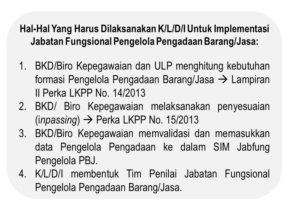 Hal-Hal Yang Harus Dilaksanakan K/L/D/I Untuk Implementasi Jabatan Fungsional Pengelola Pengadaan Barang/Jasa: 1.BKD/Biro Kepegawaian dan ULP menghitu